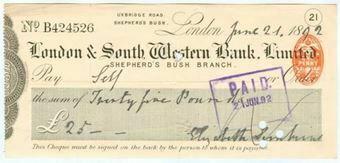 Picture of London & South Western Bank Ltd., Shepherd's Bush, 18(92)