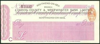 Picture of London County & Westminster Bank Ltd., ovpt on London & County, Southend-on-Sea, 19(09)