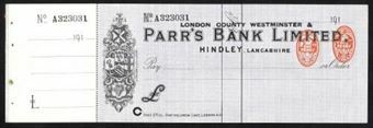 Picture of London County Westminster & Parr's Bank Ltd., ovpt. on Parr's Bank Ltd, Hindley, 191(8)