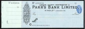 Picture of London County Westminster & Parr's Bank Ltd., ovpt. on Parr's Bank Ltd, Hindley, 191(9)