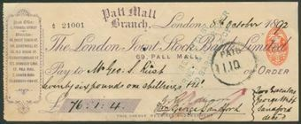 Picture of London Joint Stock Bank Ltd., Pall Mall Branch, London, 18(92)