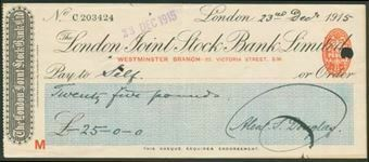 Picture of London Joint Stock Bank Ltd., Westminster Branch, 22, Victoria Street, S.W., 191(5)