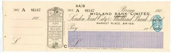 Picture of Midland Bank Ltd, ovptd on London Joint City & Midland Bank, Brigg, 192(3), type 1