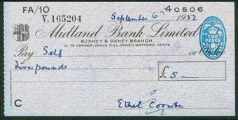 Picture of Midland Bank Ltd.,  Bushey & Oxhey Branch, 19(52), type 8