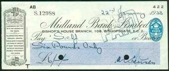 Picture of Midland Bank Ltd., Bishop's House Branch, 108, Bishopsgate, E.C.2, 19(38), type 3b