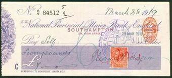 Picture of National Provincial and Union Bank of England Ltd., Southampton, 19(19), double stamp