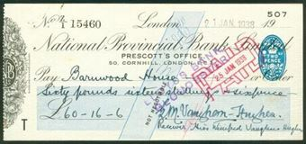 Picture of National Provincial Bank Ltd., 50, Cornhill, London, E.C.3, 19(34), type 17c