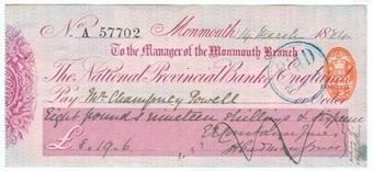 Picture of National Provincial Bank of England Ltd, Monmouth, 18(84), type 9b