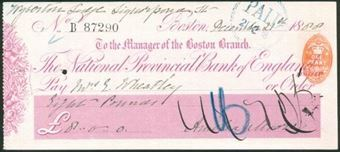 Picture of National Provincial Bank of England Ltd., Boston, 18(88), type 9a