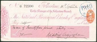 Picture of National Provincial Bank of England Ltd., Folkestone, 18(93), type 9a
