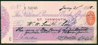 Picture of National Provincial Bank of England Ltd., Gt. Yarmouth (Hall Quay), 19(18), type 11e