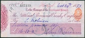 Picture of National Provincial Bank of England Ltd., Hartlepool, 18(83), type 9b
