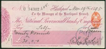 Picture of National Provincial Bank of England Ltd., Hartlepool, 18(95), type 10b