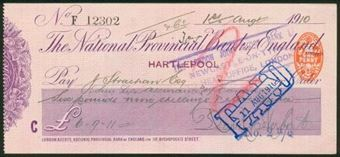 Picture of National Provincial Bank of England Ltd., Hartlepool, 19(10), type 11c