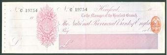Picture of National Provincial Bank of England Ltd., Hereford, 18(81), type 9a