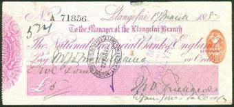 Picture of National Provincial Bank of England Ltd., Llangefni, 18(87), type 9b