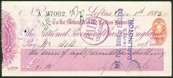Picture of National Provincial Bank of England Ltd., Loftus, 18(84), type 9b