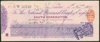 Picture of National Provincial Bank of England Ltd., London, South Kensington, 190(9), type 12a