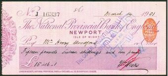 Picture of National Provincial Bank of England Ltd., Newport, Isle of White, 19(00), type 11c