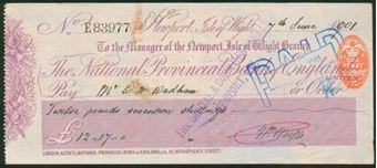 Picture of National Provincial Bank of England Ltd., Newport, Isle of Wight, 18(93), type 10a
