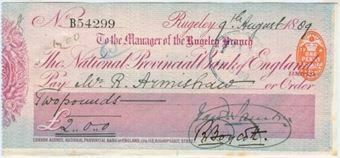 Picture of National Provincial Bank of England Ltd., Rugeley, 18(89), type 10b