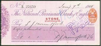 Picture of National Provincial Bank of England Ltd., Stone (Staffs.), 19(05), type 11c