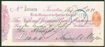 Picture of National Provincial Bank of England Ltd., Tiverton, 18(81), type 9a
