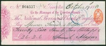 Picture of National Provincial Bank of England Ltd., Tiverton, 18(82), type 9a