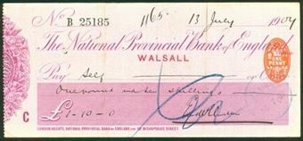 Picture of National Provincial Bank of England Ltd., Walsall, 19(09), type 11c