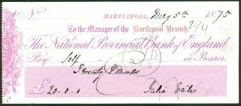 Picture of National Provincial Bank of England, Hartlepool Branch (in red), 18(74), type 6