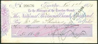 Picture of National Provincial Bank of England, Tiverton, 18(80), type 7