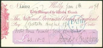 Picture of National Provincial Bank of England, Whitby, 18(79), type 8a