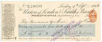 Picture of Union of London & Smiths Bank Ltd., Prescott's Office, 50 Cornhill, London, 191(3)