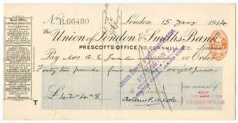 Picture of Union of London & Smiths Bank Ltd., Prescott's Office, 50 Cornhill, London, 191(4)