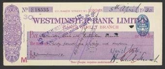 Picture of Westminster Bank Ltd., Baker Street, London, 19(30), type 2a