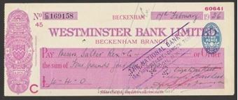 Picture of Westminster Bank Ltd., Beckenham, 19(36), type 3a