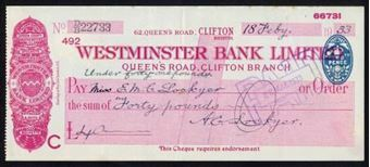 Picture of Westminster Bank Ltd., Clifton, Bristol, Queen's Road, 19(32), type 3d