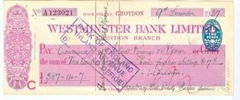 Picture of Westminster Bank Ltd., Croydon, 19(27), type 2a