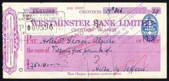 Picture of Westminster Bank Ltd., Croydon, 19(29), type 4
