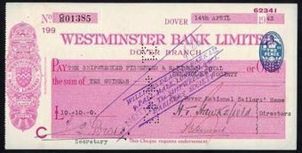 Picture of Westminster Bank Ltd., Dover, 19(38), type 3a