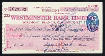 Picture of Westminster Bank Ltd., Egremont, Cumberland, 19(49), type 8c
