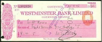 Picture of Westminster Bank Ltd., Guernsey Branch, 19(34), type 3a