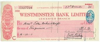 Picture of Westminster Bank Ltd., Leicester, 19(30), type 3b