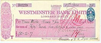 Picture of Westminster Bank Ltd., Lombard St. London, 19(28), type 2a