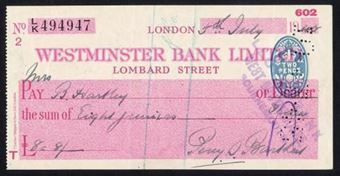 Picture of Westminster Bank Ltd., Lombard Street, 19(45), type 8a