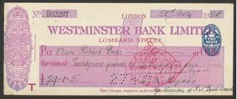 Picture of Westminster Bank Ltd., Lombard Street, London, 19(28), type 2a