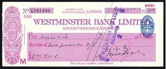 Picture of Westminster Bank Ltd., London, Knightsbridge, 19(32), type 3a