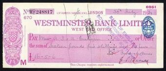 Picture of Westminster Bank Ltd., London, West End Office, 19(38), type 3a