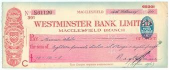 Picture of Westminster Bank Ltd., Macclesfield, 19(34), type 3b