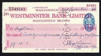 Picture of Westminster Bank Ltd., Macclesfield, 19(45), type 8c